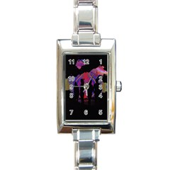 Abstract Surreal Sunset Rectangle Italian Charm Watch