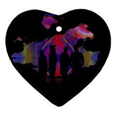 Abstract Surreal Sunset Ornament (heart)