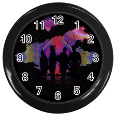 Abstract Surreal Sunset Wall Clocks (black)