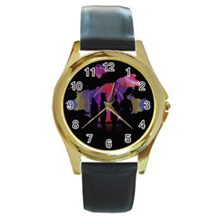Abstract Surreal Sunset Round Gold Metal Watch