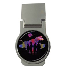 Abstract Surreal Sunset Money Clips (round)