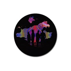 Abstract Surreal Sunset Magnet 3  (round)