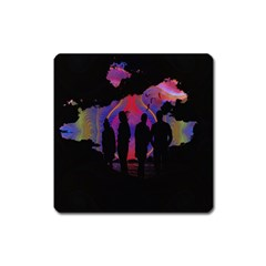 Abstract Surreal Sunset Square Magnet