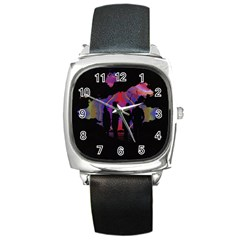 Abstract Surreal Sunset Square Metal Watch