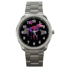 Abstract Surreal Sunset Sport Metal Watch