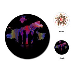 Abstract Surreal Sunset Playing Cards (Round)