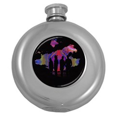 Abstract Surreal Sunset Round Hip Flask (5 oz)
