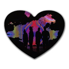Abstract Surreal Sunset Heart Mousepads