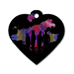 Abstract Surreal Sunset Dog Tag Heart (Two Sides)