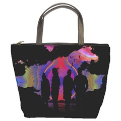 Abstract Surreal Sunset Bucket Bags