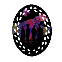 Abstract Surreal Sunset Oval Filigree Ornament (two Sides)