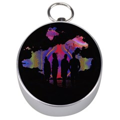 Abstract Surreal Sunset Silver Compasses