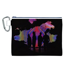 Abstract Surreal Sunset Canvas Cosmetic Bag (l)