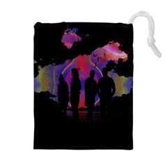 Abstract Surreal Sunset Drawstring Pouches (Extra Large)