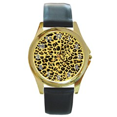 A Jaguar Fur Pattern Round Gold Metal Watch