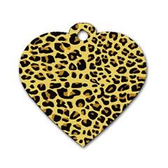 A Jaguar Fur Pattern Dog Tag Heart (one Side)