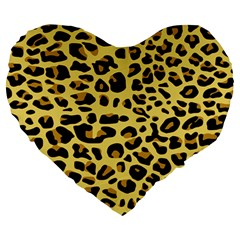 A Jaguar Fur Pattern Large 19  Premium Heart Shape Cushions