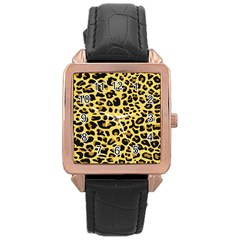 A Jaguar Fur Pattern Rose Gold Leather Watch