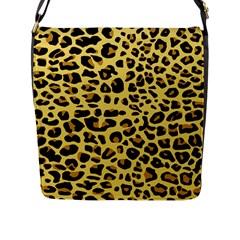 A Jaguar Fur Pattern Flap Messenger Bag (l)