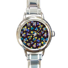 Bees Animal Insect Pattern Round Italian Charm Watch