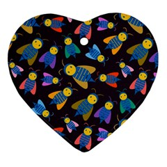 Bees Animal Insect Pattern Ornament (heart)