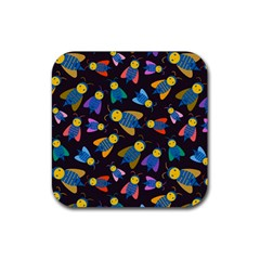 Bees Animal Insect Pattern Rubber Coaster (square)