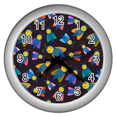 Bees Animal Insect Pattern Wall Clocks (silver)