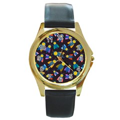 Bees Animal Insect Pattern Round Gold Metal Watch