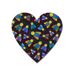 Bees Animal Insect Pattern Heart Magnet