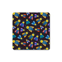 Bees Animal Insect Pattern Square Magnet