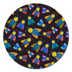 Bees Animal Insect Pattern Magnet 5  (round)