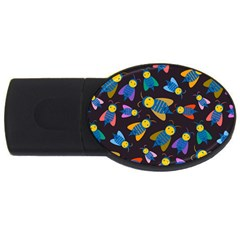 Bees Animal Insect Pattern Usb Flash Drive Oval (2 Gb)