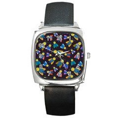 Bees Animal Insect Pattern Square Metal Watch