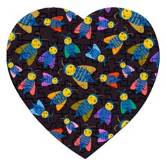 Bees Animal Insect Pattern Jigsaw Puzzle (heart)