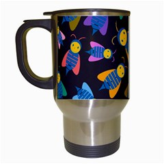 Bees Animal Insect Pattern Travel Mugs (White)