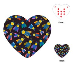 Bees Animal Insect Pattern Playing Cards (heart)