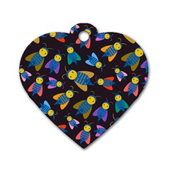 Bees Animal Insect Pattern Dog Tag Heart (two Sides)