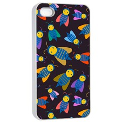 Bees Animal Insect Pattern Apple iPhone 4/4s Seamless Case (White)
