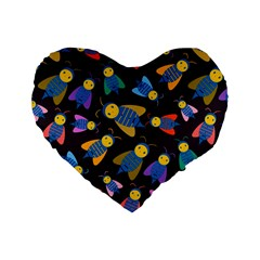 Bees Animal Insect Pattern Standard 16  Premium Heart Shape Cushions