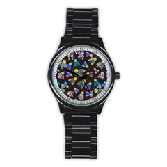 Bees Animal Insect Pattern Stainless Steel Round Watch