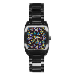 Bees Animal Insect Pattern Stainless Steel Barrel Watch