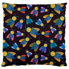 Bees Animal Insect Pattern Large Flano Cushion Case (One Side)
