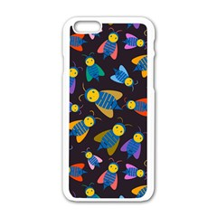 Bees Animal Insect Pattern Apple iPhone 6/6S White Enamel Case
