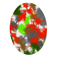 Abstract Watercolor Background Wallpaper Of Splashes  Red Hues Ornament (Oval)