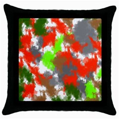 Abstract Watercolor Background Wallpaper Of Splashes  Red Hues Throw Pillow Case (black)