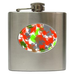 Abstract Watercolor Background Wallpaper Of Splashes  Red Hues Hip Flask (6 oz)