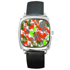 Abstract Watercolor Background Wallpaper Of Splashes  Red Hues Square Metal Watch