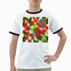 Abstract Watercolor Background Wallpaper Of Splashes  Red Hues Ringer T-Shirts