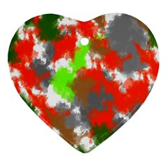 Abstract Watercolor Background Wallpaper Of Splashes  Red Hues Heart Ornament (two Sides)