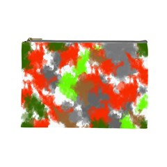 Abstract Watercolor Background Wallpaper Of Splashes  Red Hues Cosmetic Bag (Large)